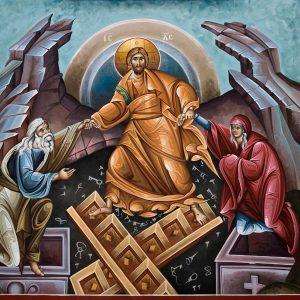 Kuvassa on ikoni, jossa Kristus vetää Tuonelasta ylös Adamin ja Eevan.