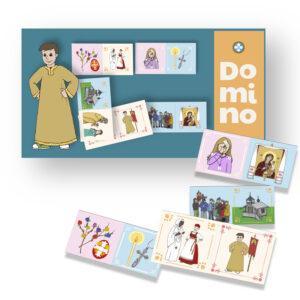 Kuvassa on sinisävyinen dominopelin paketti sekä pelilaattoja.